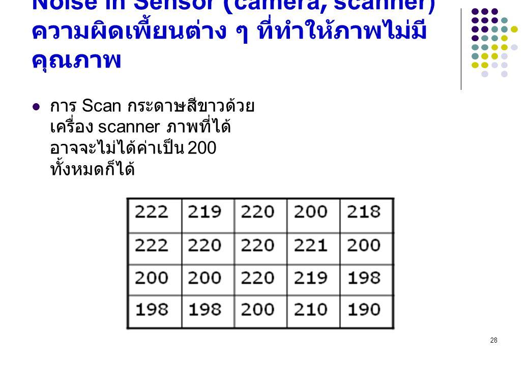 28 Noise in Sensor (camera, scanner) ความผิดเพี้ยนต่าง ๆ ที่ทำให้ภาพไม่มี คุณภาพ การ Scan กระดาษสีขาวด้วย เครื่อง scanner ภาพที่ได้ อาจจะไม่ได้ค่าเป็น