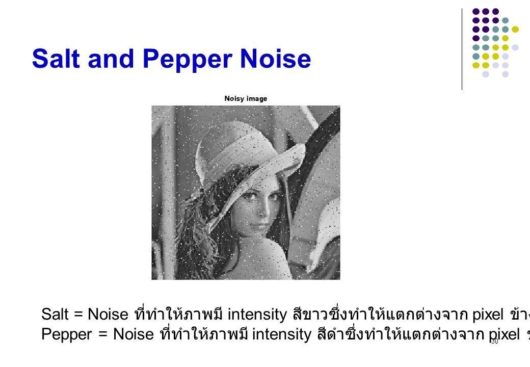 30 Salt and Pepper Noise Salt = Noise ที่ทำให้ภาพมี intensity สีขาวซึ่งทำให้แตกต่างจาก pixel ข้างเคียง Pepper = Noise ที่ทำให้ภาพมี intensity สีดำซึ่ง