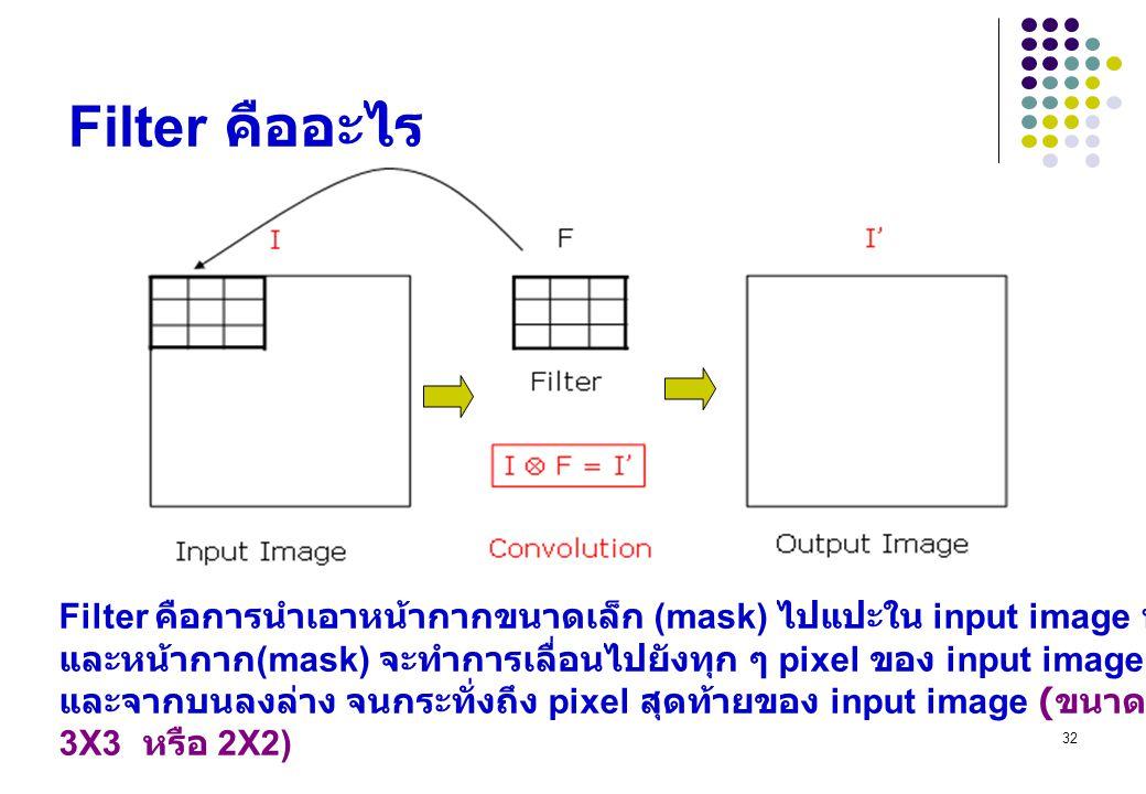 32 Filter คืออะไร Filter คือการนำเอาหน้ากากขนาดเล็ก (mask) ไปแปะใน input image ที่ต้องการประมวลผล และหน้ากาก (mask) จะทำการเลื่อนไปยังทุก ๆ pixel ของ