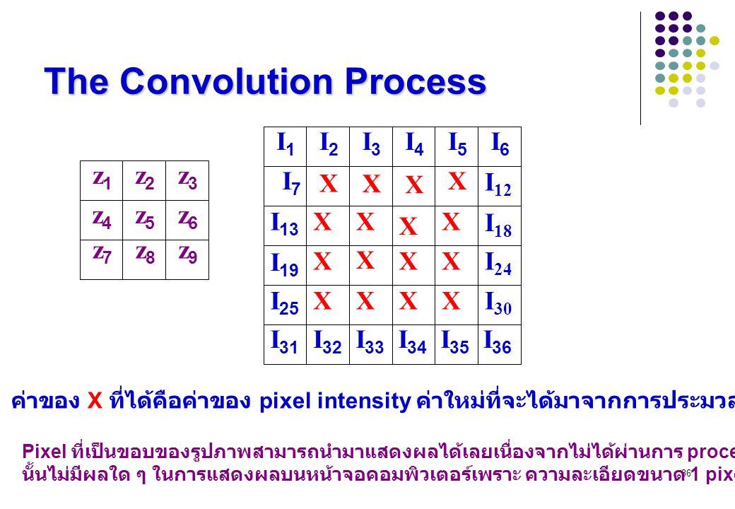 36 The Convolution Process z1z1 z2z2 z3z3 z4z4 z5z5 z6z6 z9z9 z8z8 z7z7 I1I1 I2I2 I3I3 I4I4 I5I5 I6I6 I 12 I 18 X X X I7I7 I 13 I 19 XXX X X X XXI 24 I 25 XXXXI 30 I 31 I 32 I 33 I 34 I 35 I 36 X ค่าของ X ที่ได้คือค่าของ pixel intensity ค่าใหม่ที่จะได้มาจากการประมวลผลด้วย Filter หรือ หน้ากาก Pixel ที่เป็นขอบของรูปภาพสามารถนำมาแสดงผลได้เลยเนื่องจากไม่ได้ผ่านการ process จาก filter ซึ่งการไม่ผ่าน Filter นั้นไม่มีผลใด ๆ ในการแสดงผลบนหน้าจอคอมพิวเตอร์เพราะ ความละเอียดขนาด 1 pixel เป็นส่วนที่เล็กน้อยมาก