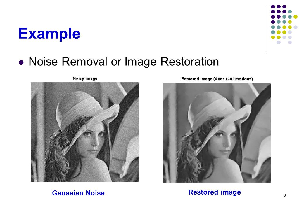 8 Example Noise Removal or Image Restoration Gaussian Noise Restored image