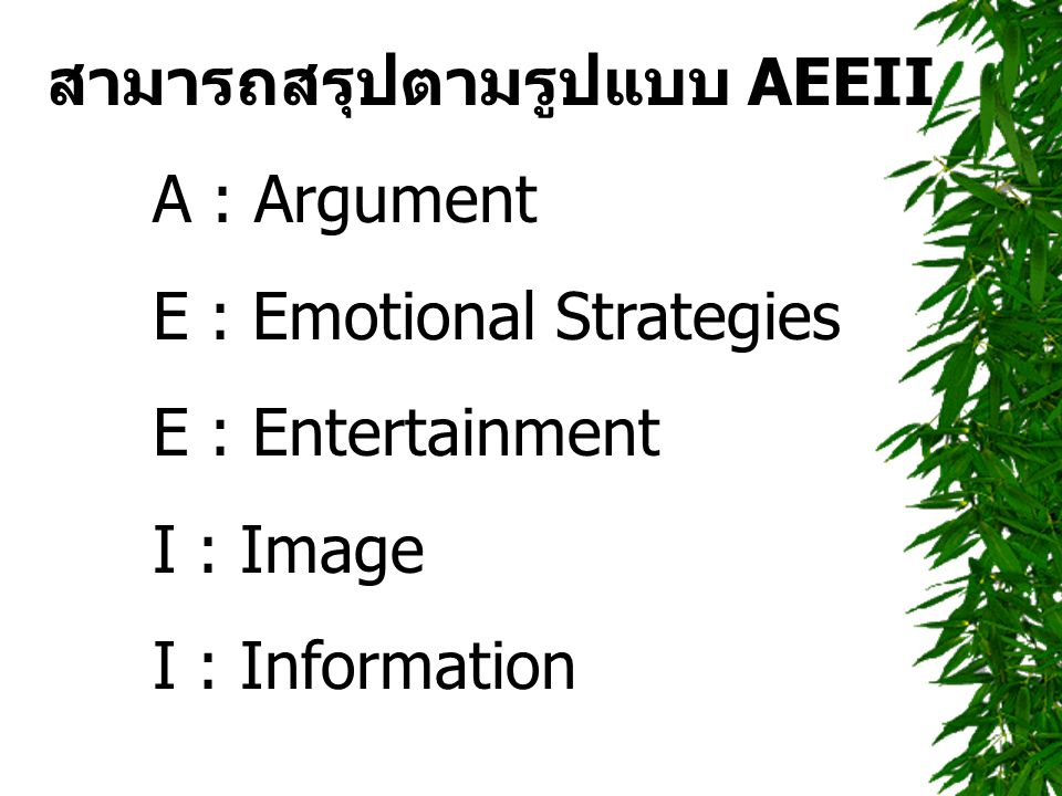 สามารถสรุปตามรูปแบบ AEEII A : Argument E : Emotional Strategies E : Entertainment I : Image I : Information