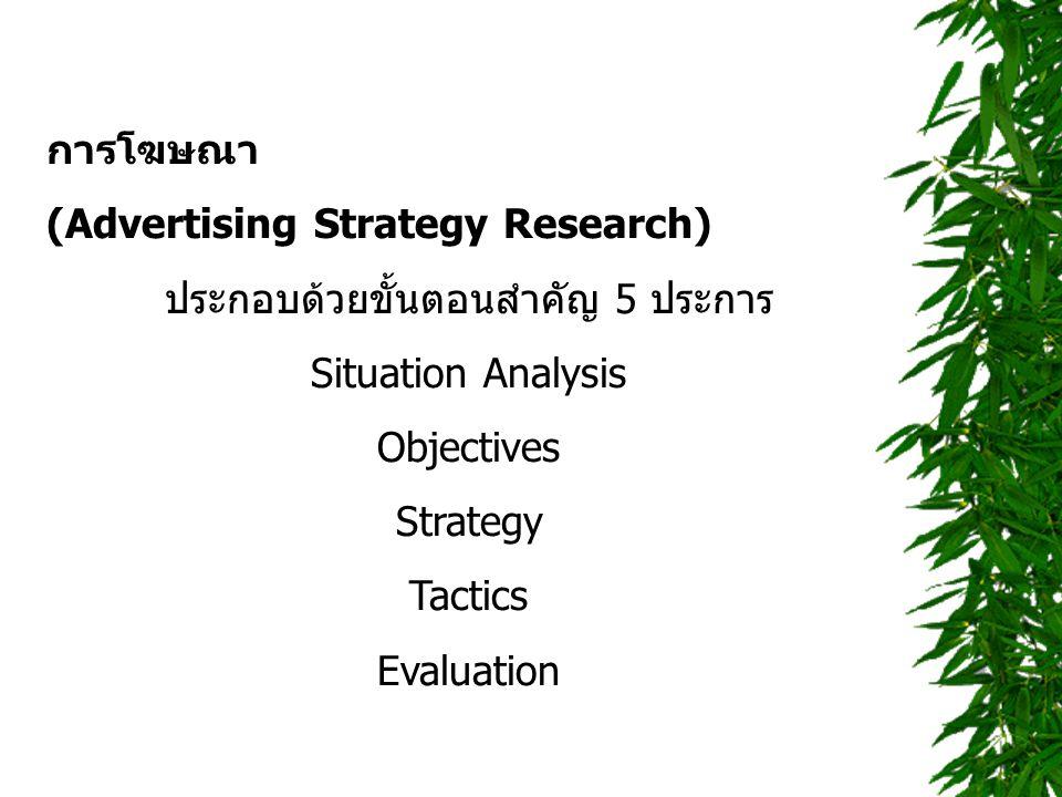 การโฆษณา (Advertising Strategy Research) ประกอบด้วยขั้นตอนสำคัญ 5 ประการ Situation Analysis Objectives Strategy Tactics Evaluation