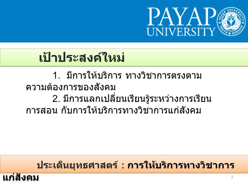 ประเด็นยุทธศาสตร์ : การให้บริการทางวิชาการ แก่สังคม 7 เป้าประสงค์ใหม่ 1.