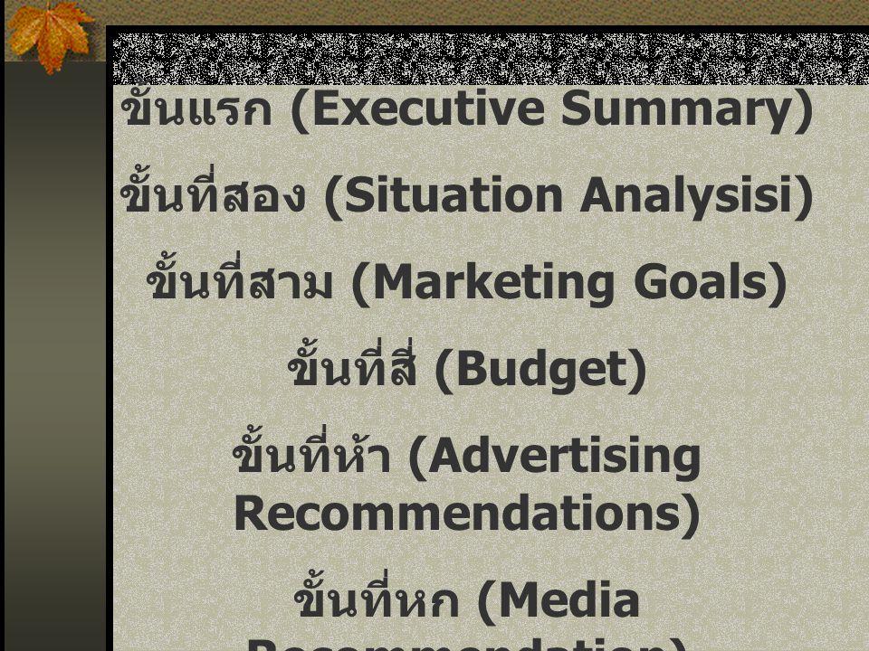ขั้นแรก (Executive Summary) ขั้นที่สอง (Situation Analysisi) ขั้นที่สาม (Marketing Goals) ขั้นที่สี่ (Budget) ขั้นที่ห้า (Advertising Recommendations)