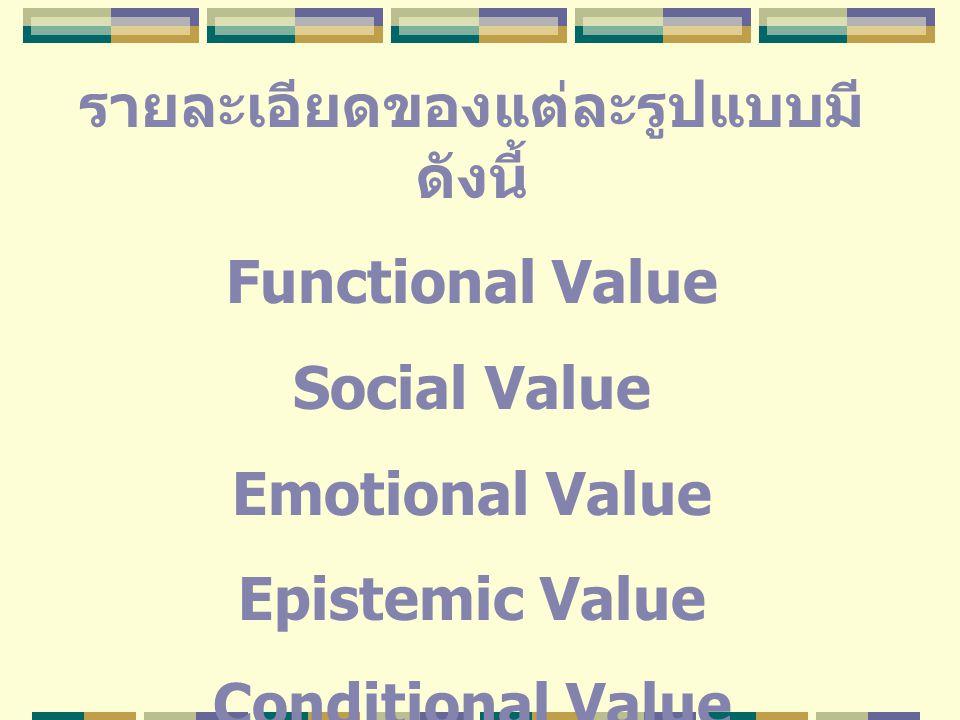 รายละเอียดของแต่ละรูปแบบมี ดังนี้ Functional Value Social Value Emotional Value Epistemic Value Conditional Value