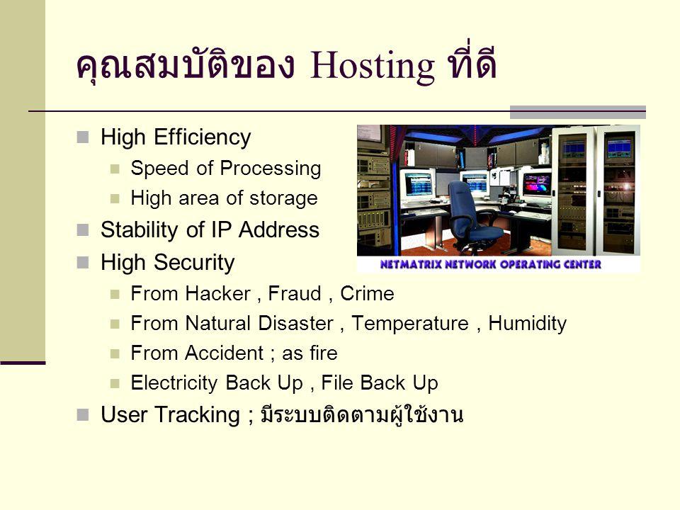 คุณสมบัติของ Hosting ที่ดี High Efficiency Speed of Processing High area of storage Stability of IP Address High Security From Hacker, Fraud, Crime Fr