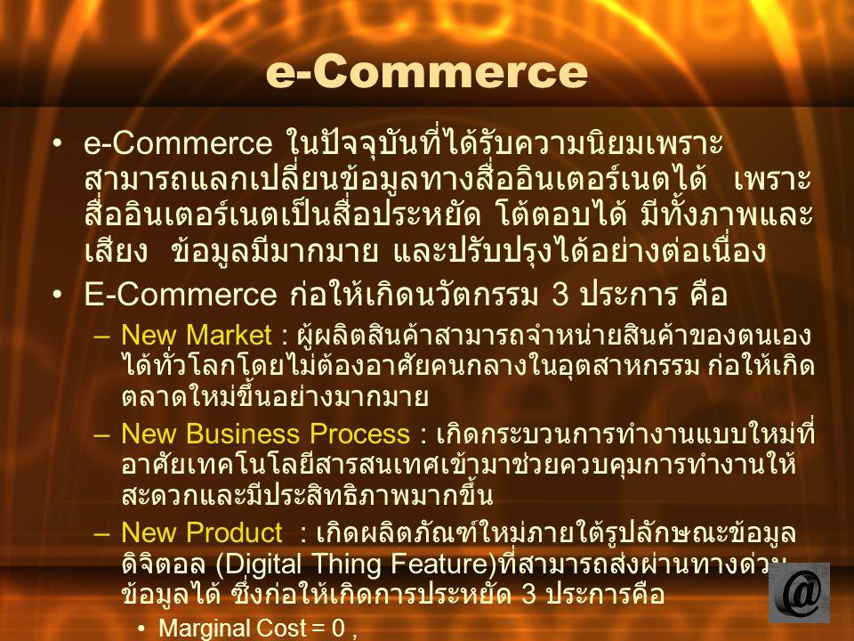 e-Commerce ในปัจจุบันที่ได้รับความนิยมเพราะ สามารถแลกเปลี่ยนข้อมูลทางสื่ออินเตอร์เนตได้ เพราะ สื่ออินเตอร์เนตเป็นสื่อประหยัด โต้ตอบได้ มีทั้งภาพและ เส