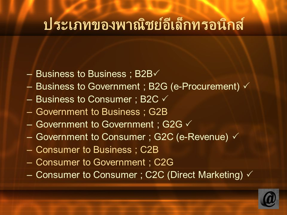 ประเภทของพาณิชย์อีเล็กทรอนิกส์ –Business to Business ; B2B  –Business to Government ; B2G (e-Procurement)  –Business to Consumer ; B2C  –Government