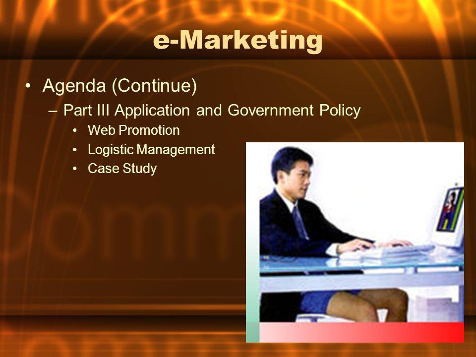e-Marketing & e-Commerce e - Marketing กิจกรรมทางการตลาดที่ใช้ electronics ที่มีความ ทันสมัยและสะดวกต่อการใช้งาน ผสมผสาน กับวิธีการทางการตลาดอย่างลงตัว เพื่อบรรลุ จุดมุ่งหมายขององค์กรอย่างแท้จริง e - Commerce การค้าแบบพาณิชย์อีเลกทรอนิกส์ เป็นจุดเริ่ม ของการทำธุรกรรมแบบ e-Business หมายถึง การค้าแบบ ซื้อมา - ขายไป โดยสื่อด้วยส่วน ของหน้าร้านในลักษณะ Web Pages บนระบบ อินเทอร์เนต