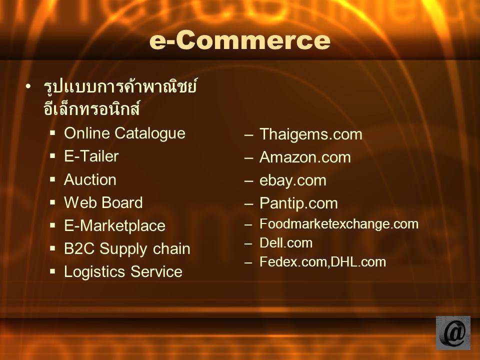 e-Commerce รูปแบบการค้าพาณิชย์ อีเล็กทรอนิกส์  Online Catalogue  E-Tailer  Auction  Web Board  E-Marketplace  B2C Supply chain  Logistics Servi