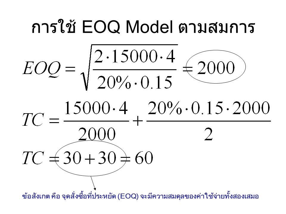 การใช้ EOQ Model ตามสมการ ข้อสังเกต คือ จุดสั่งซื้อที่ประหยัด (EOQ) จะมีความสมดุลของค่าใช้จ่ายทั้งสองเสมอ