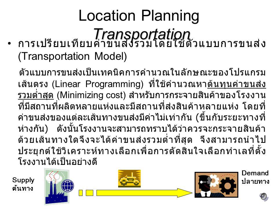 Transportation Location Planning Transportation การเปรียบเทียบค่าขนส่งรวมโดยใช้ตัวแบบการขนส่ง (Transportation Model) ตัวแบบการขนส่งเป็นเทคนิคการคำนวณในลักษณะของโปรแกรม เส้นตรง (Linear Programming) ที่ใช้คำนวณหาต้นทุนค่าขนส่ง รวมต่ำสุด (Minimizing cost) สำหรับการกระจายสินค้าของโรงงาน ที่มีสถานที่ผลิตหลายแห่งและมีสถานที่ส่งสินค้าหลายแห่ง โดยที่ ค่าขนส่งของแต่ละเส้นทางขนส่งมีค่าไม่เท่ากัน ( ขึ้นกับระยะทางที่ ห่างกัน ) ดังนั้นโรงงานจะสามารถทราบได้ว่าควรจะกระจายสินค้า ด้วยเส้นทางใดจึงจะได้ค่าขนส่งรวมต่ำที่สุด จึงสามารถนำไป ประยุกต์ใช้วิเคราะห์ทางเลือกเพื่อการตัดสินใจเลือกทำเลที่ตั้ง โรงงานได้เป็นอย่างดี Supply ต้นทาง Demand ปลายทาง