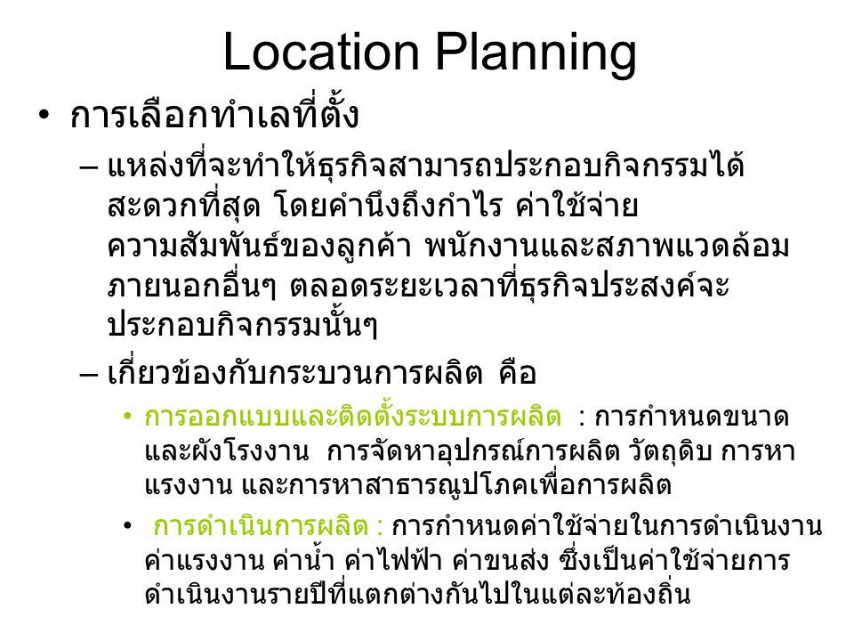 Location Planning ขั้นตอนการเลือกทำเลที่ตั้ง การศึกษาปัจจัย การวิเคราะห์ทางเลือก เทคนิคการวิเคราะห์เชิงคุณภาพ เทคนิคการวิเคราะห์เชิงปริมาณ การตัดสินใจ ลงทุนก่อสร้าง เลือก ไม่เลือก