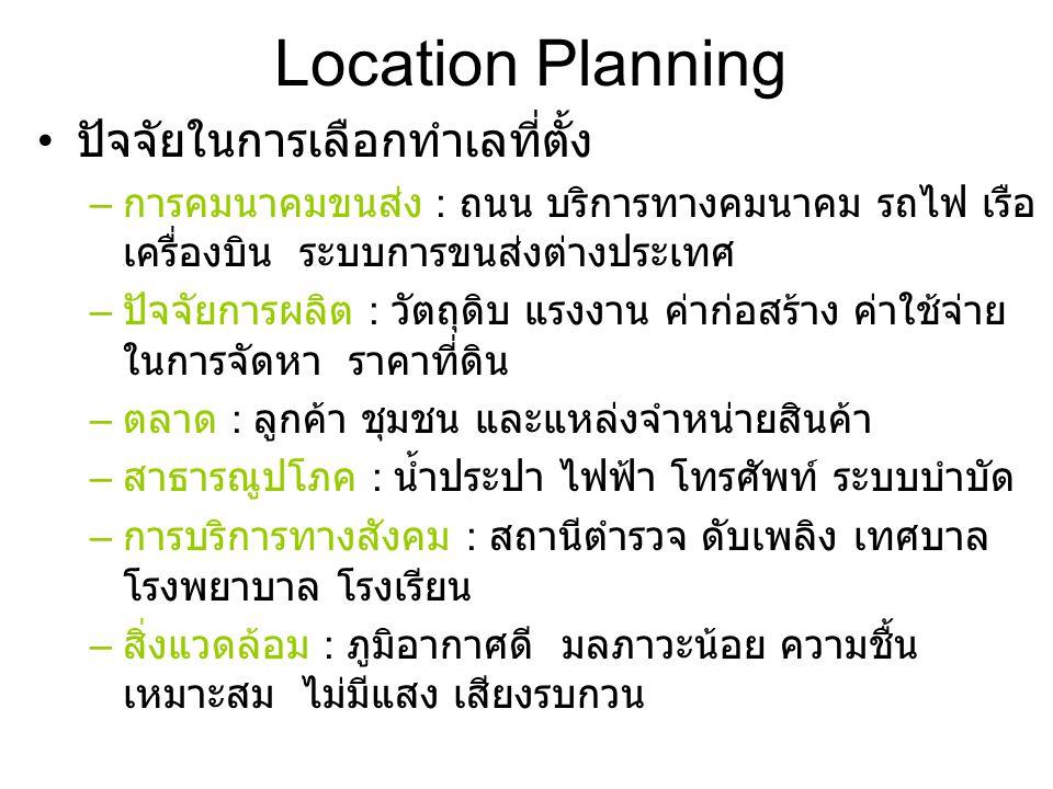 Location Planning ปัจจัยในการเลือกทำเลที่ตั้ง – การคมนาคมขนส่ง : ถนน บริการทางคมนาคม รถไฟ เรือ เครื่องบิน ระบบการขนส่งต่างประเทศ – ปัจจัยการผลิต : วัตถุดิบ แรงงาน ค่าก่อสร้าง ค่าใช้จ่าย ในการจัดหา ราคาที่ดิน – ตลาด : ลูกค้า ชุมชน และแหล่งจำหน่ายสินค้า – สาธารณูปโภค : น้ำประปา ไฟฟ้า โทรศัพท์ ระบบบำบัด – การบริการทางสังคม : สถานีตำรวจ ดับเพลิง เทศบาล โรงพยาบาล โรงเรียน – สิ่งแวดล้อม : ภูมิอากาศดี มลภาวะน้อย ความชื้น เหมาะสม ไม่มีแสง เสียงรบกวน