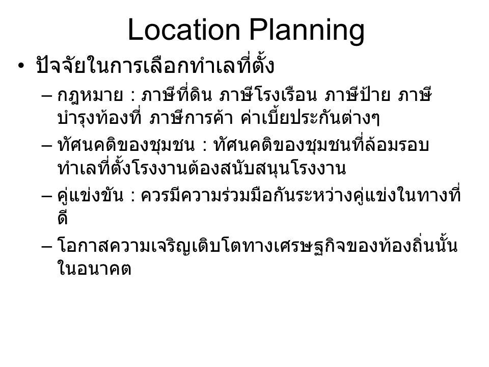 Location Planning เทคนิคการวิเคราะห์การเลือกทำเลที่ตั้ง – เชิงคุณภาพ : การเรียงลำดับความสำคัญของปัจจัยและให้คะแนนปัจจัย ลำดับปัจจัยScoreทำเล 1ทำเล2ทำเล3 1 แหล่งวัตถุดิบ400 25080 2 ชุมชน350150170200 3 แหล่งแรงงาน350250300150 4 การขนส่ง สะดวก 300 200240 5 สาธารณูปโภ ค 250150190200 6 การบำบัด ของเสีย 20050100 7 สิ่งแวดล้อม15090 120 รวม 2000139013001090