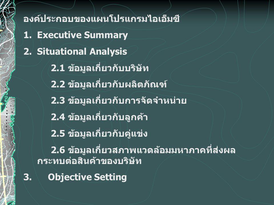 องค์ประกอบของแผนโปรแกรมไอเอ็มซี 1.Executive Summary 2. Situational Analysis 2.1 ข้อมูลเกี่ยวกับบริษัท 2.2 ข้อมูลเกี่ยวกับผลิตภัณฑ์ 2.3 ข้อมูลเกี่ยวกับ