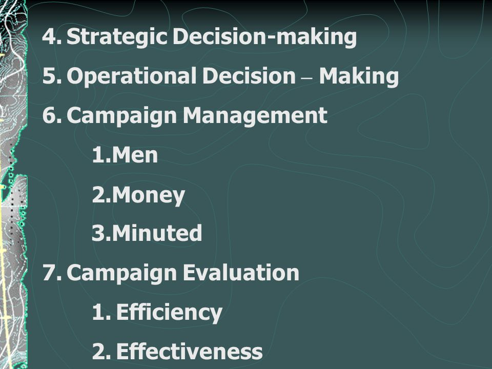 4.Strategic Decision-making 5.Operational Decision – Making 6.Campaign Management 1.Men 2.Money 3.Minuted 7.Campaign Evaluation 1.Efficiency 2.Effecti