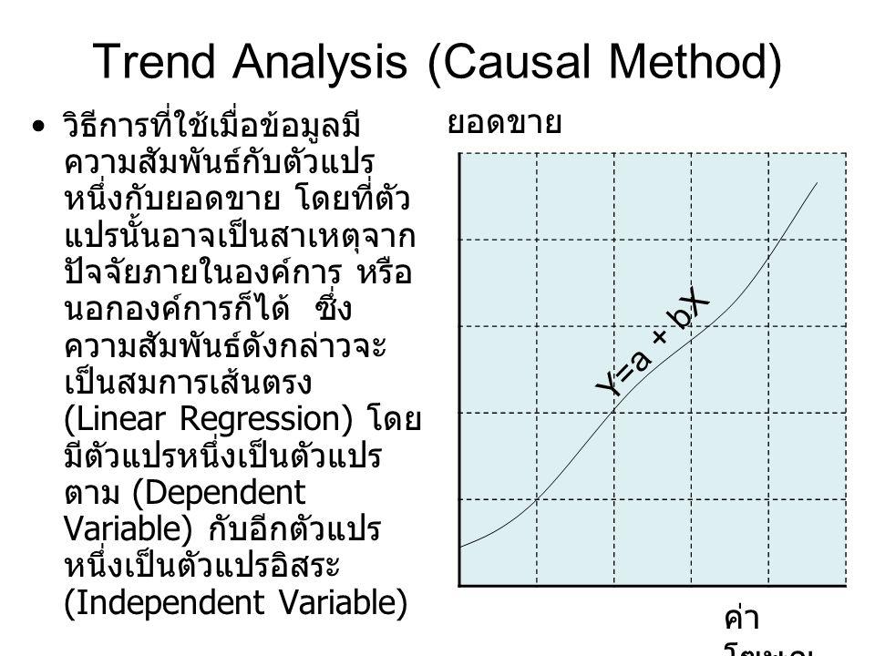 Trend Analysis (Causal Method) วิธีการที่ใช้เมื่อข้อมูลมี ความสัมพันธ์กับตัวแปร หนึ่งกับยอดขาย โดยที่ตัว แปรนั้นอาจเป็นสาเหตุจาก ปัจจัยภายในองค์การ หร