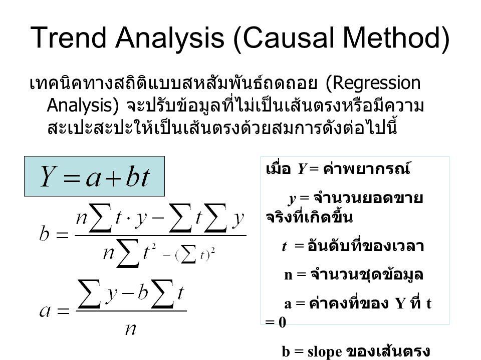 Trend Analysis (Causal Method) เทคนิคทางสถิติแบบสหสัมพันธ์ถดถอย (Regression Analysis) จะปรับข้อมูลที่ไม่เป็นเส้นตรงหรือมีความ สะเปะสะปะให้เป็นเส้นตรงด