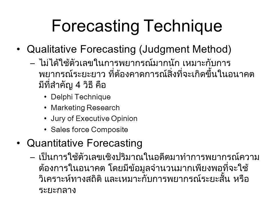 Forecasting Technique Qualitative Forecasting (Judgment Method) –ไม่ได้ใช้ตัวเลขในการพยากรณ์มากนัก เหมาะกับการ พยากรณ์ระยะยาว ที่ต้องคาดการณ์สิ่งที่จะ
