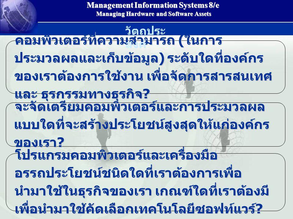 Management Information Systems 8/e Managing Hardware and Software Assets Managing Hardware and Software Assets คอมพิวเตอร์ที่ความสามารถ ( ในการ ประมวลผลและเก็บข้อมูล ) ระดับใดที่องค์กร ของเราต้องการใช้งาน เพื่อจัดการสารสนเทศ และ ธุรกรรมทางธุรกิจ .