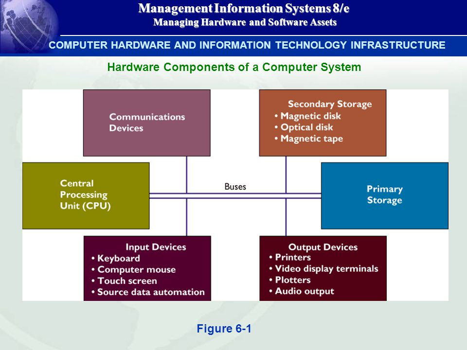 Management Information Systems 8/e Managing Hardware and Software Assets Managing Hardware and Software Assets COMPUTER HARDWARE AND INFORMATION TECHNOLOGY INFRASTRUCTURE Hardware Components of a Computer System Figure 6-1