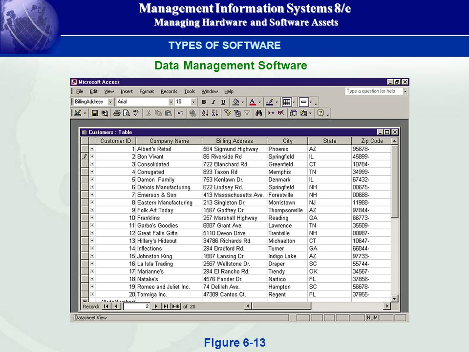 Management Information Systems 8/e Managing Hardware and Software Assets Managing Hardware and Software Assets TYPES OF SOFTWARE Data Management Software Figure 6-13