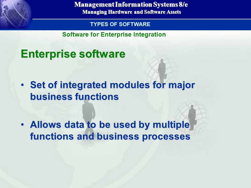 Management Information Systems 8/e Managing Hardware and Software Assets Managing Hardware and Software Assets Enterprise software Set of integrated modules for major business functionsSet of integrated modules for major business functions Allows data to be used by multiple functions and business processesAllows data to be used by multiple functions and business processes TYPES OF SOFTWARE Software for Enterprise Integration