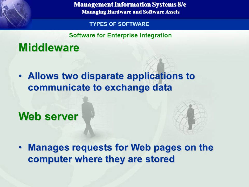 Management Information Systems 8/e Managing Hardware and Software Assets Managing Hardware and Software AssetsMiddleware Allows two disparate applicat