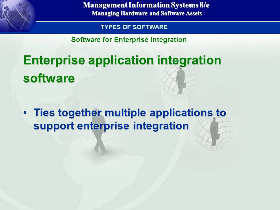 Management Information Systems 8/e Managing Hardware and Software Assets Managing Hardware and Software Assets Enterprise application integration software Ties together multiple applications to support enterprise integrationTies together multiple applications to support enterprise integration TYPES OF SOFTWARE Software for Enterprise Integration