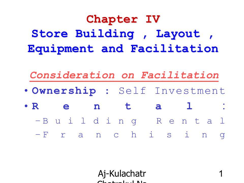 Aj-Kulachatr Chatrakul Na Ayudhaya Ch-4 1 Chapter IV Store Building, Layout, Equipment and Facilitation Consideration on Facilitation Ownership : Self