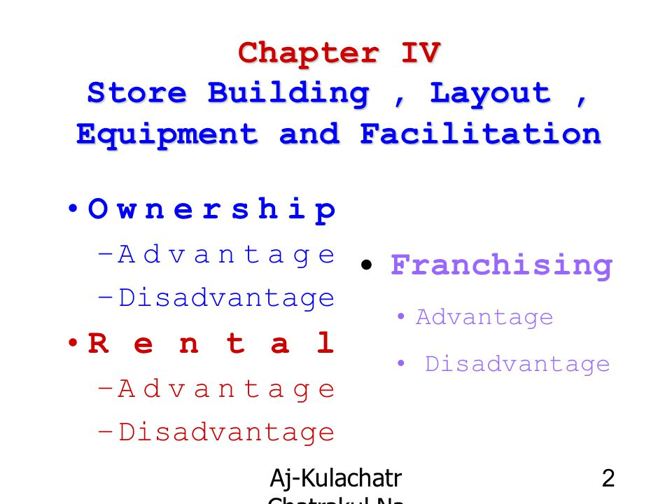 Aj-Kulachatr Chatrakul Na Ayudhaya Ch-4 3 Chapter IV Store Building Outsider the Building –Attraction, Imaging, Useful and Benefit Store Front and Decoration –Vista or Visualization –Material Decoration ;Colorful,Print-Ad Entrance / Exit –Invitation, Widely, Automatic, Ringing