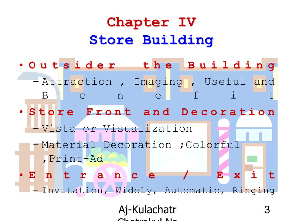 Aj-Kulachatr Chatrakul Na Ayudhaya Ch-4 3 Chapter IV Store Building Outsider the Building –Attraction, Imaging, Useful and Benefit Store Front and Dec