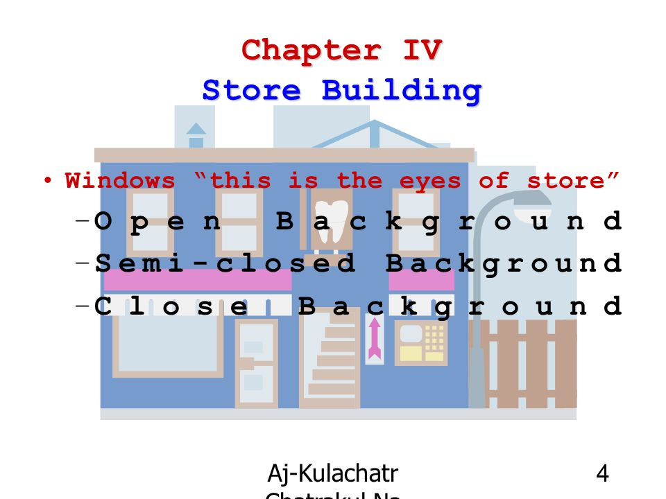 "Aj-Kulachatr Chatrakul Na Ayudhaya Ch-4 4 Chapter IV Store Building Windows ""this is the eyes of store"" –Open Background –Semi-closed Background –Clos"