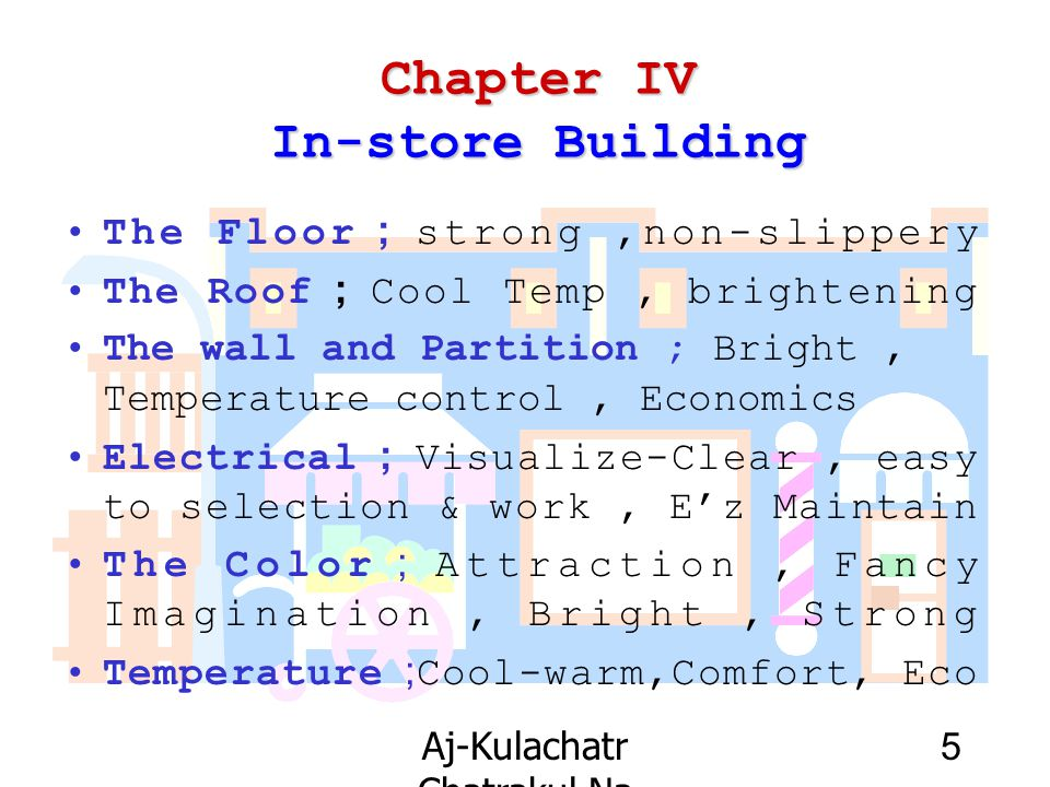 Aj-Kulachatr Chatrakul Na Ayudhaya Ch-4 5 Chapter IV In-store Building The Floor ; strong,non-slippery The Roof ; Cool Temp, brightening The wall and