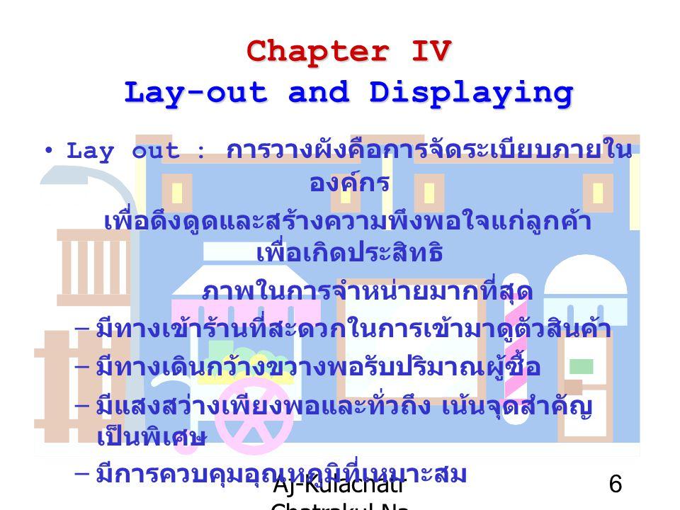 Aj-Kulachatr Chatrakul Na Ayudhaya Ch-4 6 Chapter IV Lay-out and Displaying Lay out : การวางผังคือการจัดระเบียบภายใน องค์กร เพื่อดึงดูดและสร้างความพึง