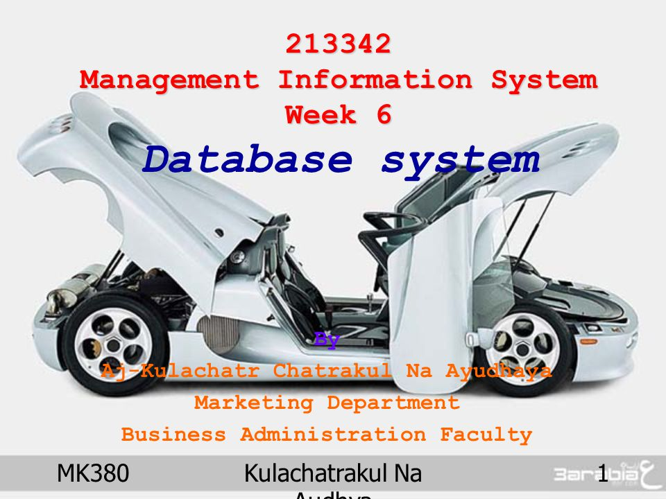 MK380Kulachatrakul Na Audhya 2 Management Information System Management Information System Database system Chapter Outline Database Concepts –Filing system –Database system Database Management System ; DBMS –Data Hierarchy –Main issues in data management Relational Database DBMS Software and Application –SQL Language and example program