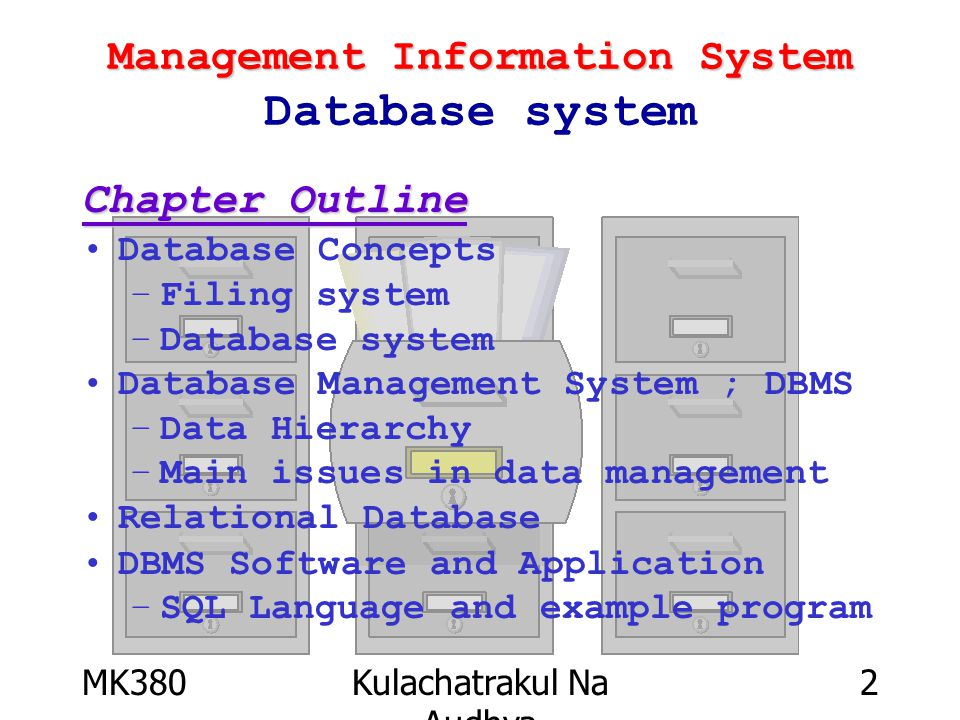 MK380Kulachatrakul Na Audhya 13 Management Information System Weakness of Database Weakness High cost of database investment Very complicated Risk of system down –Centralized data System
