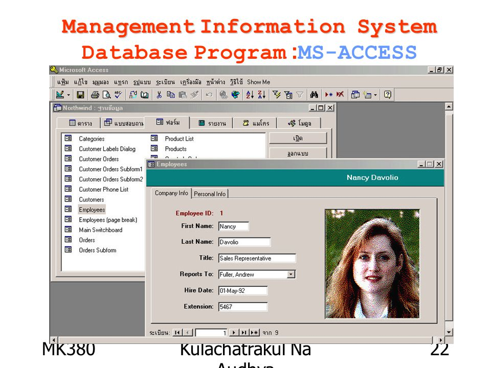 MK380Kulachatrakul Na Audhya 22 Management Information System Management Information System Database Program :MS-ACCESS