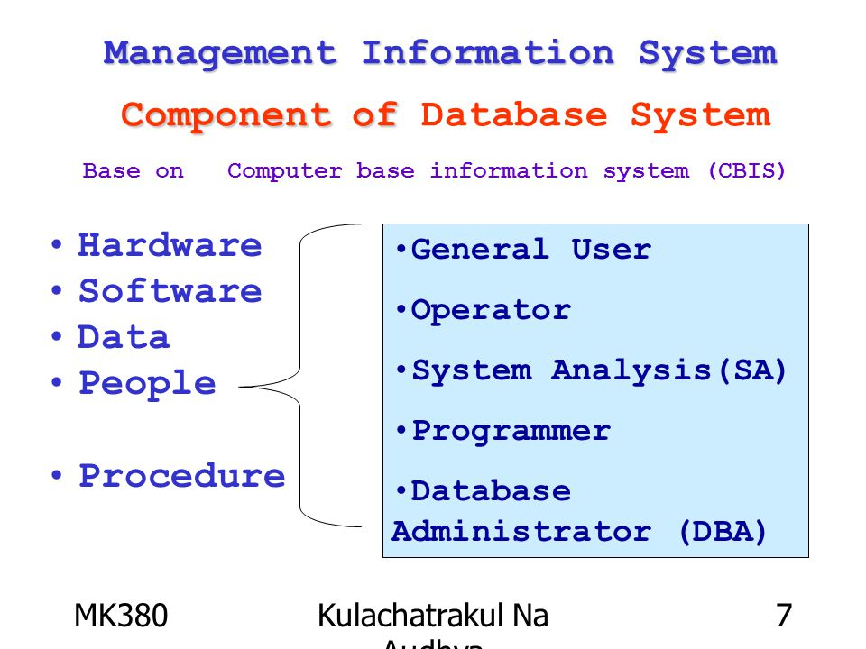 MK380Kulachatrakul Na Audhya 7 Management Information System Component of Management Information System Component of Database System Hardware Software