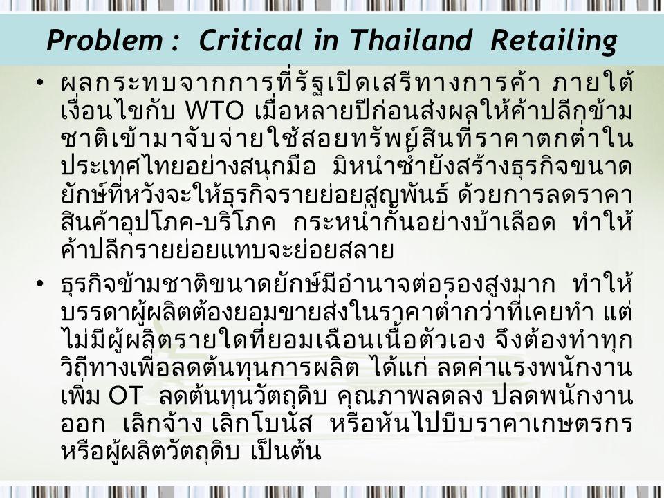 Problem : Critical in Thailand Retailing ผลกระทบจากการที่รัฐเปิดเสรีทางการค้า ภายใต้ เงื่อนไขกับ WTO เมื่อหลายปีก่อนส่งผลให้ค้าปลีกข้าม ชาติเข้ามาจับจ