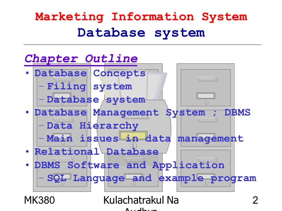 MK380Kulachatrakul Na Audhya 3 Marketing Information System Marketing Information System Database Concepts Database reduce keeping area E'Z to Access speed to Access very simplify High Accuracy Document Locker 8More keeping area 8difficulty to access 8very slow 8very bored 8High error & Mistake เอก บุญ เจือ มช.