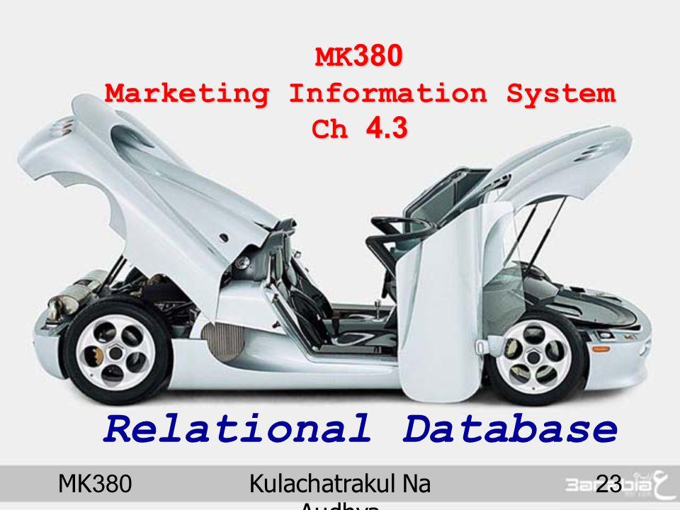 MK380Kulachatrakul Na Audhya 23 MK380 Marketing Information System Ch 4.3 MK380 Marketing Information System Ch 4.3 Relational Database