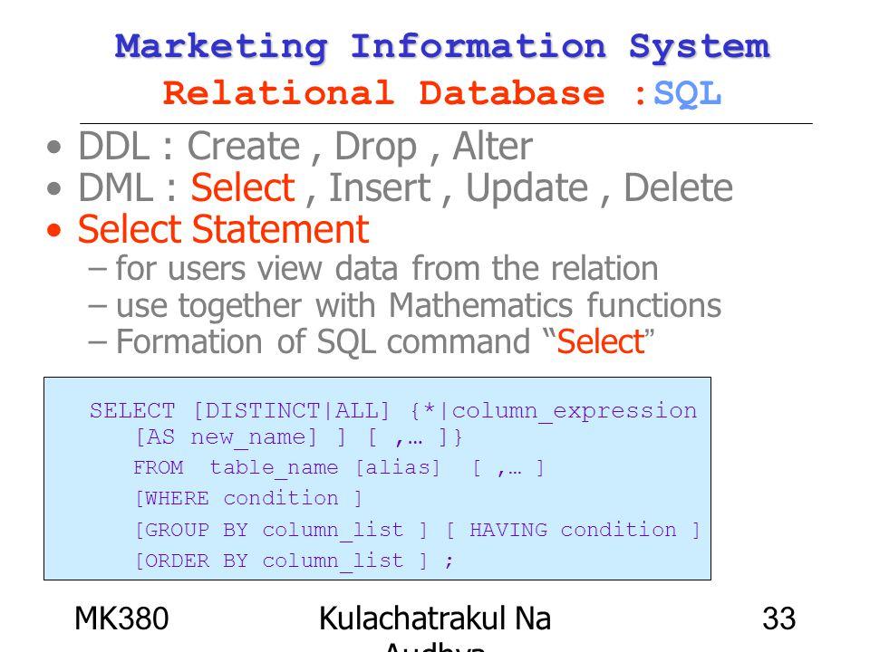 MK380Kulachatrakul Na Audhya 33 Marketing Information System Marketing Information System Relational Database :SQL DDL : Create, Drop, Alter DML : Sel