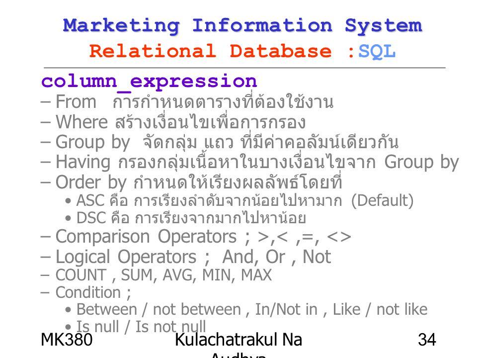 MK380Kulachatrakul Na Audhya 34 Marketing Information System Marketing Information System Relational Database :SQL column_expression –From การกำหนดตาร