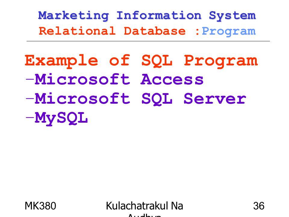 MK380Kulachatrakul Na Audhya 36 Marketing Information System Marketing Information System Relational Database :Program Example of SQL Program –Microso