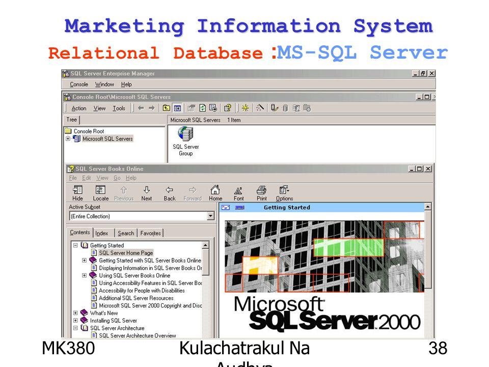 MK380Kulachatrakul Na Audhya 38 Marketing Information System Marketing Information System Relational Database :MS-SQL Server