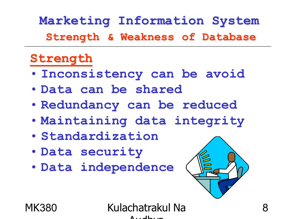 MK380Kulachatrakul Na Audhya 19 Marketing Information System Example of DBMS Client/Server –DB2 –Oracle –Ingres –Sybase –Progress –Informix PC –dBASE –FoxPro –Access –Approach –Paradox –MySQL