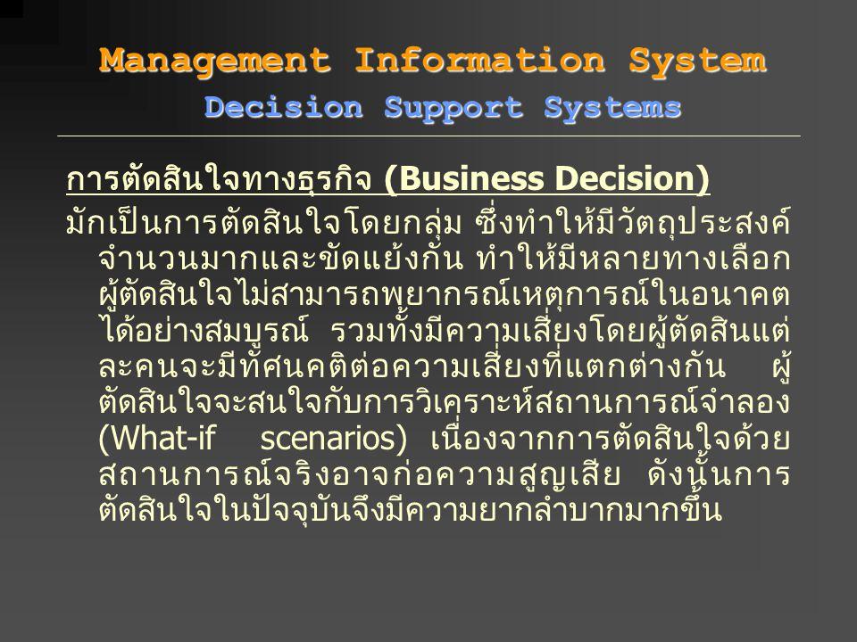 การตัดสินใจทางธุรกิจ (Business Decision) มักเป็นการตัดสินใจโดยกลุ่ม ซึ่งทำให้มีวัตถุประสงค์ จำนวนมากและขัดแย้งกัน ทำให้มีหลายทางเลือก ผู้ตัดสินใจไม่สา